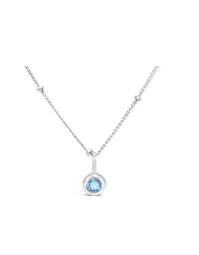 STIA CZ Bezel Necklace - Aquamarine (March)