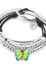 LIZZY JAMES Brittany with Enamel Butterfly Charm - Natural Black - Size Medium