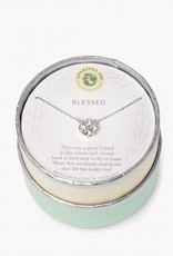 """Spartina 449 291445 SLV NECKLACE 18"""" BLESSED/CRYSTAL CLOVER SIL"""