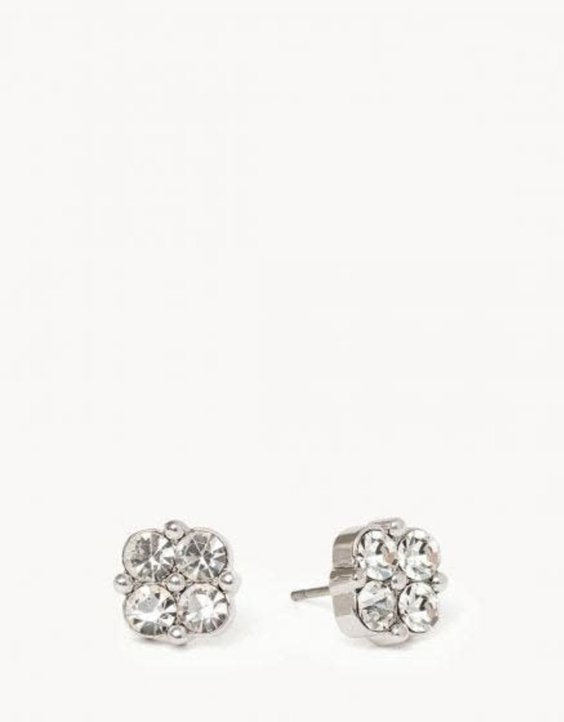 Spartina 449 291469 SLV STUD EARRINGS BLESSED/CRYSTAL CLOVER SIL