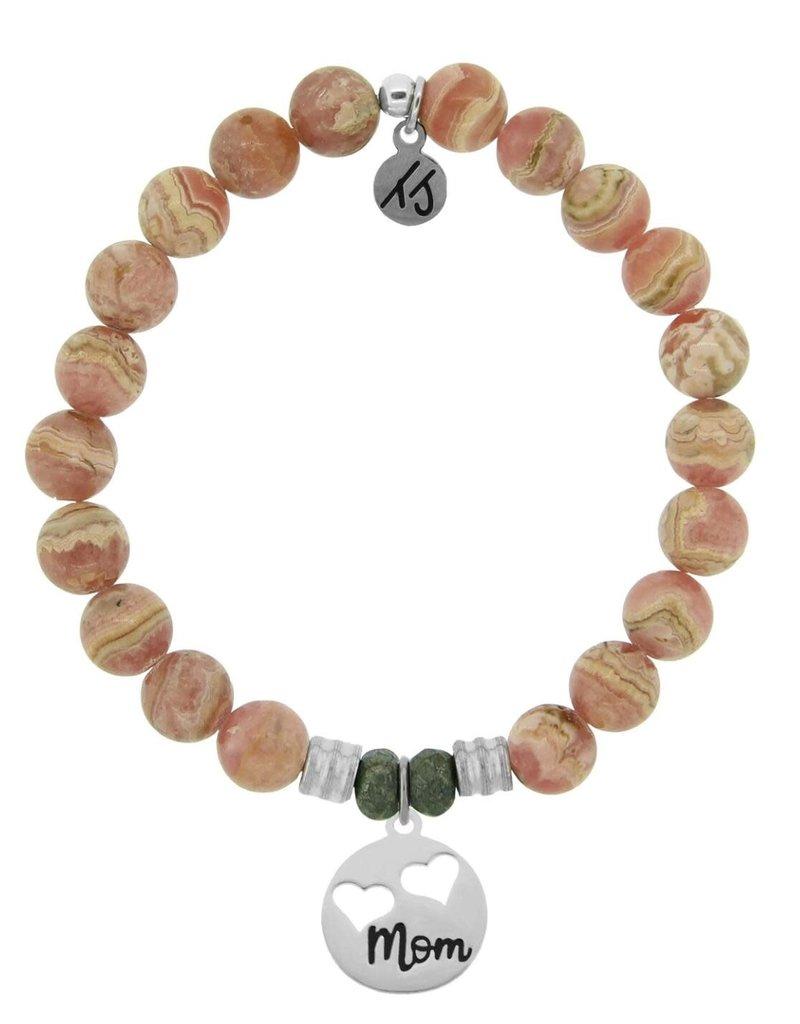 T JAZELLE Rhodochrosite Stone Bracelet with Mom... Sterling Silver Charm
