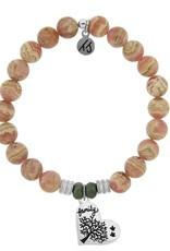 T JAZELLE Rhodochrosite Stone Bracelet with Family Tree Sterling Silver Charm