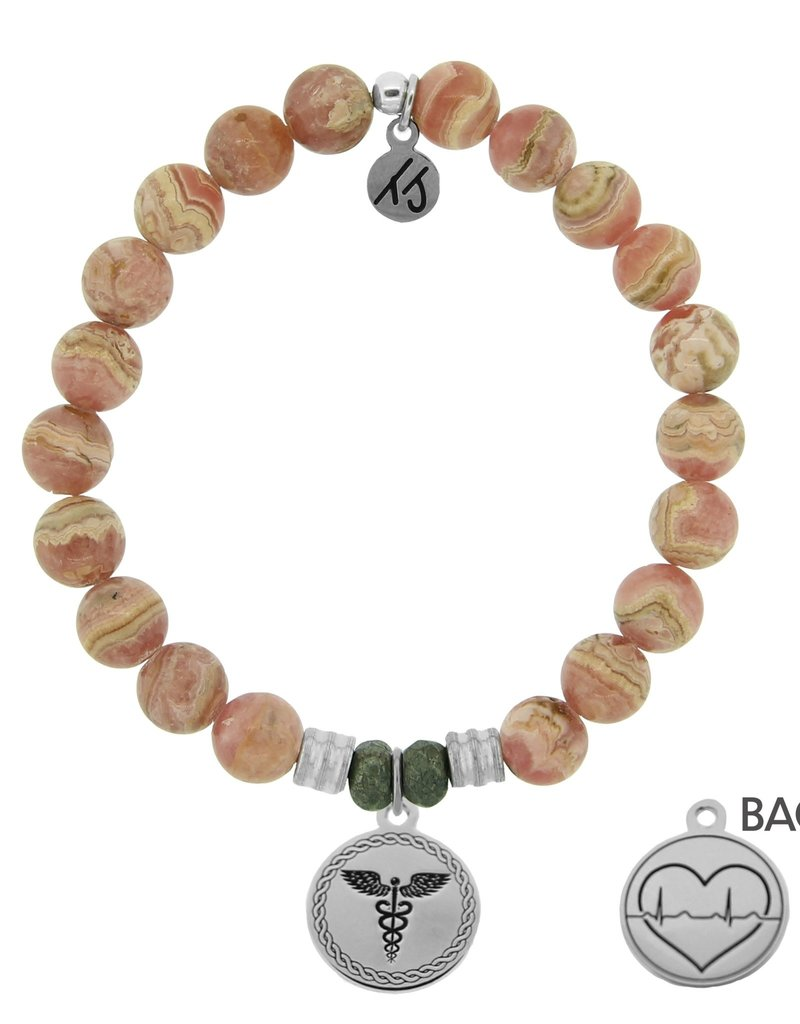 T JAZELLE Rhodochrosite Stone Bracelet with Caduceus Sterling Silver Charm