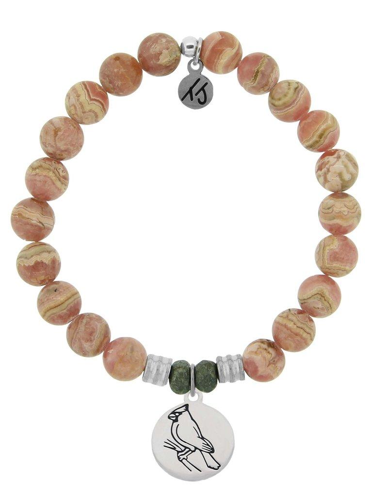 T JAZELLE Rhodochrosite Stone Bracelet with Cardinal Sterling Silver Charm