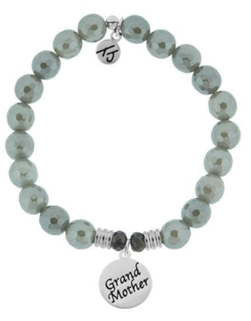 T JAZELLE Grey Agate Stone Bracelet with Endless Love Grandmother Sterling Silver Charm