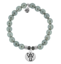 T JAZELLE Grey Agate Stone Bracelet with Guardian Angel Sterling Silver Charm