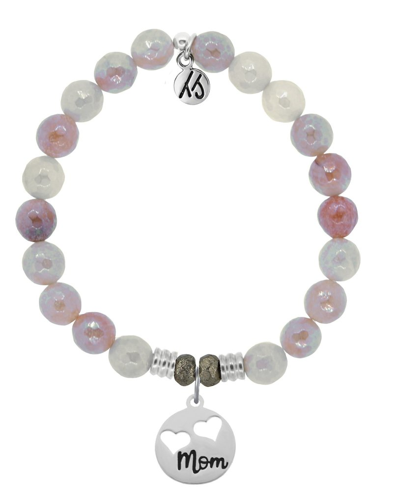 T JAZELLE Sunstone Stone Bracelet with Mom.. Sterling Silver Charm