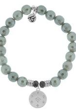 T JAZELLE Grey Agate Stone Bracelet with Prayer Sterling Silver Charm