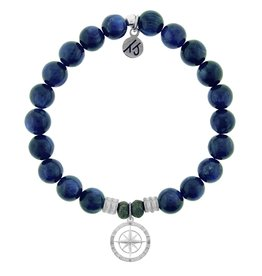 T JAZELLE Kyanite Stone Bracelet with Compass Rose Sterling Silver Charm