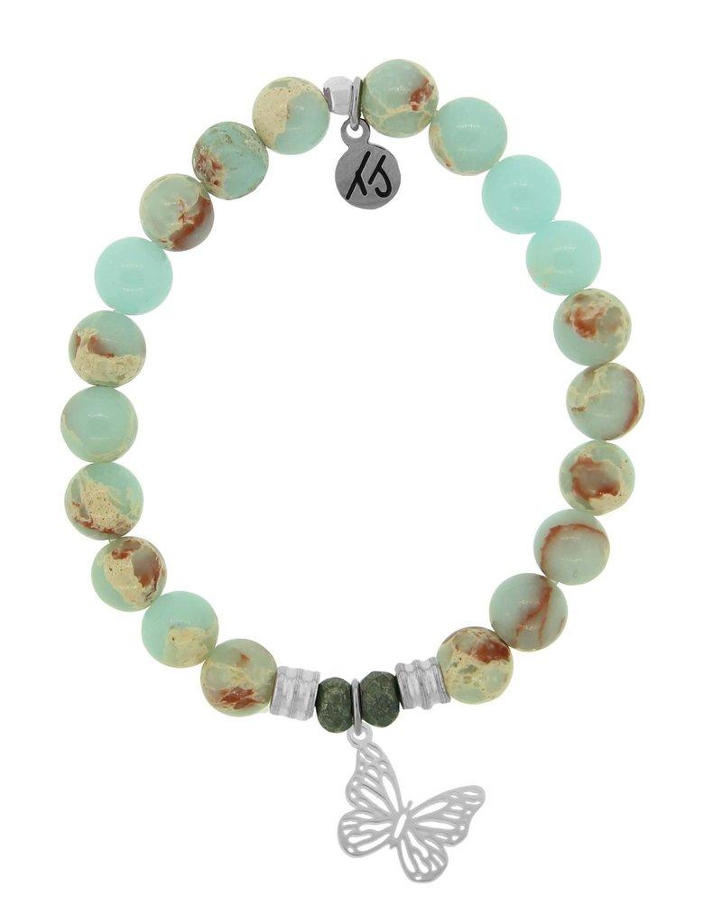T JAZELLE Desert Jasper Stone Bracelet with Butterfly Sterling Silver Charm