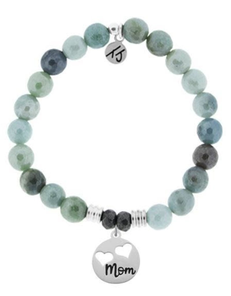 T JAZELLE Amazonite Stone Bracelet with Mom... Sterling Silver Charm