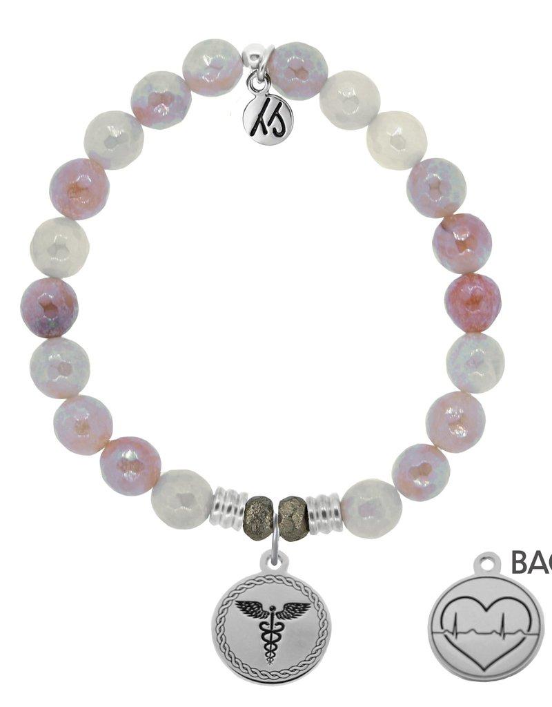 T JAZELLE Sunstone Stone Bracelet with Caduceus Sterling Silver Charm