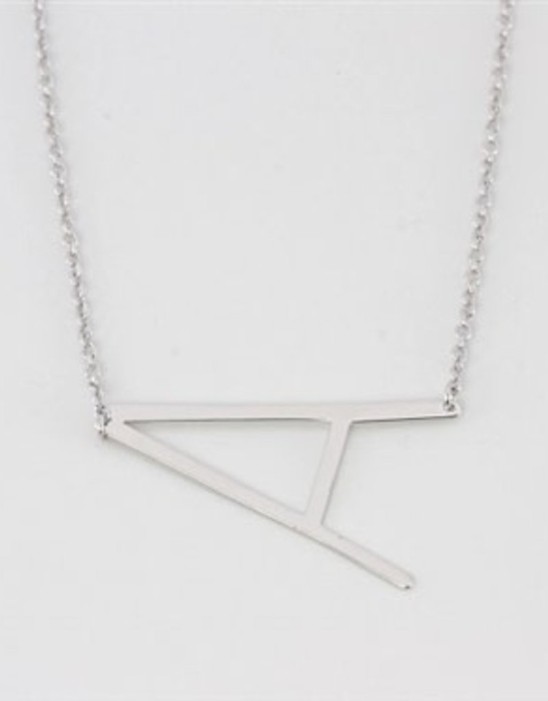 SILVER MEDIUM SIDEWAYS INITIAL NECKLACE