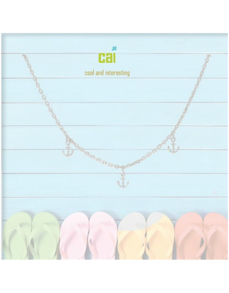 22973 silver anchor dainty + dangle anklets
