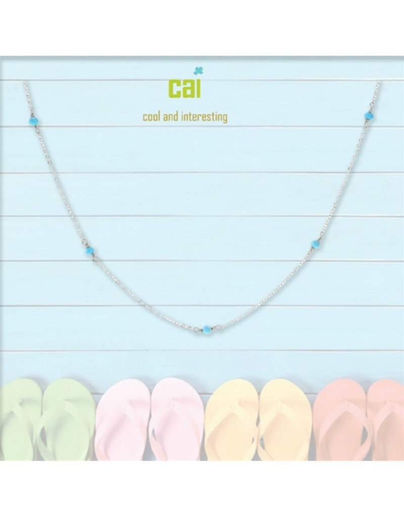 25775 silver turquoise anklet