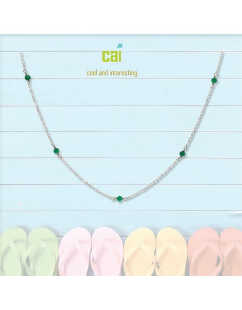 25773 silver EMERALD anklet