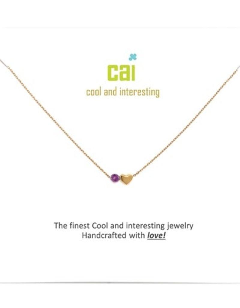 34091 Gold 'Amethyst-February' Mini Heart Birthstone Necklace