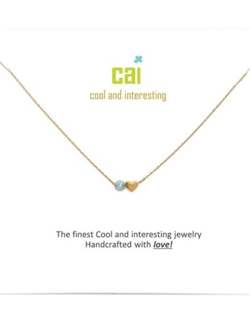 34092 Gold 'Aquamarine-March' Mini Heart Birthstone Necklace