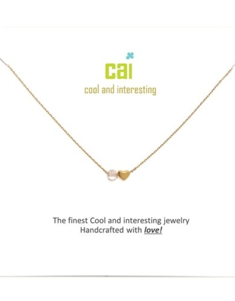 34093 Gold 'Crystal-April' Mini Heart Birthstone Necklace
