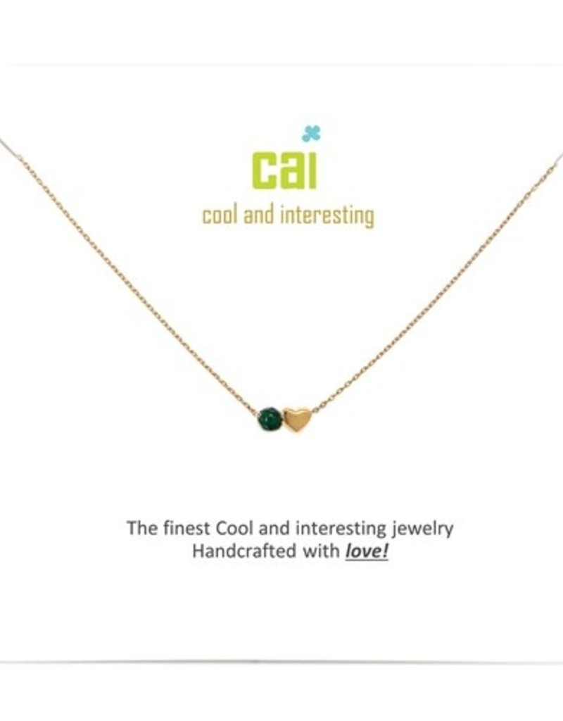 34094 Gold 'Emerald-May' Mini Heart Birthstone Necklace