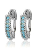 25226 silver turquoise pave stone huggies