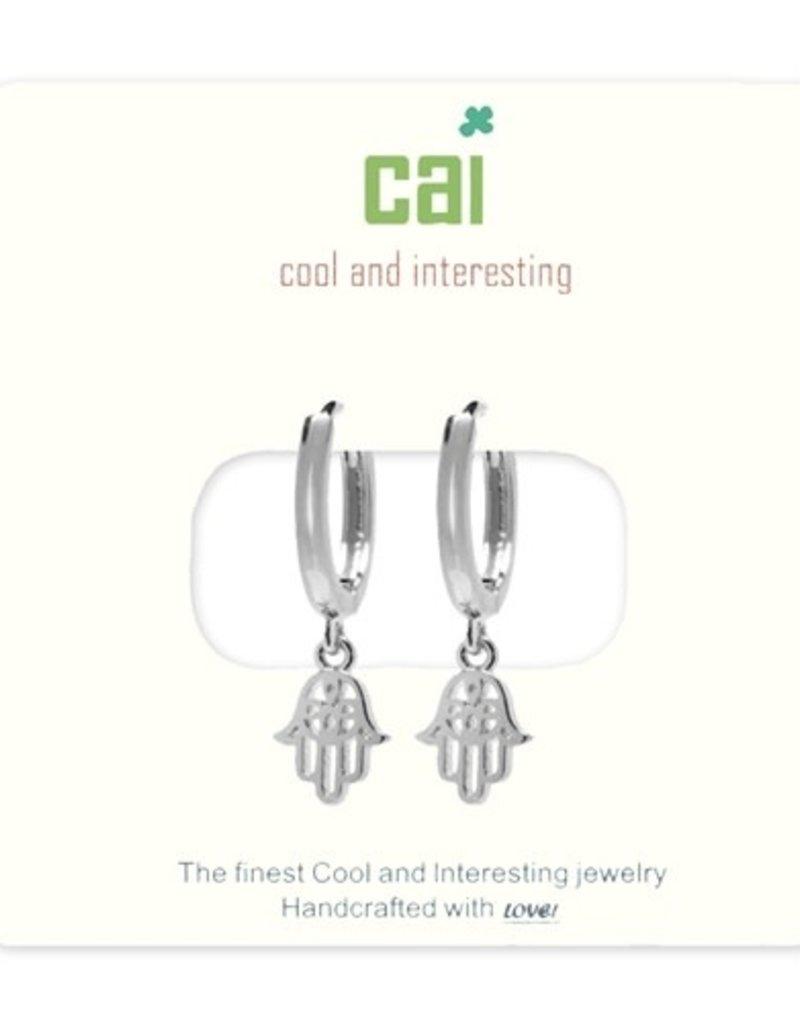 24685 silver hamsa huggie earrings