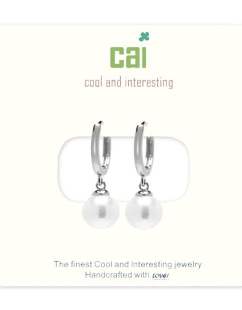 24689 silver pearl huggie earrings