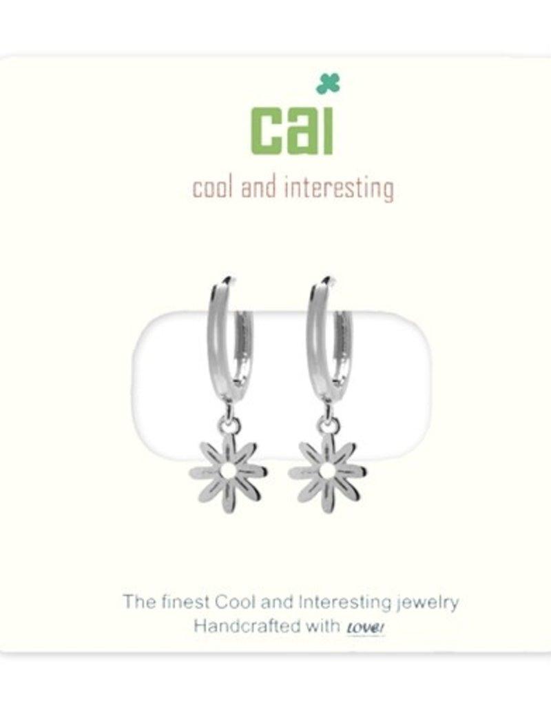 24683 silver daisy huggie earrings