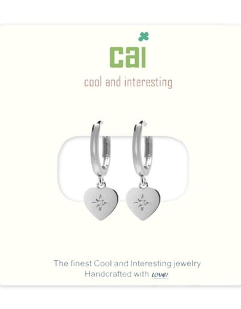 24673 silver cz heart huggie earrings