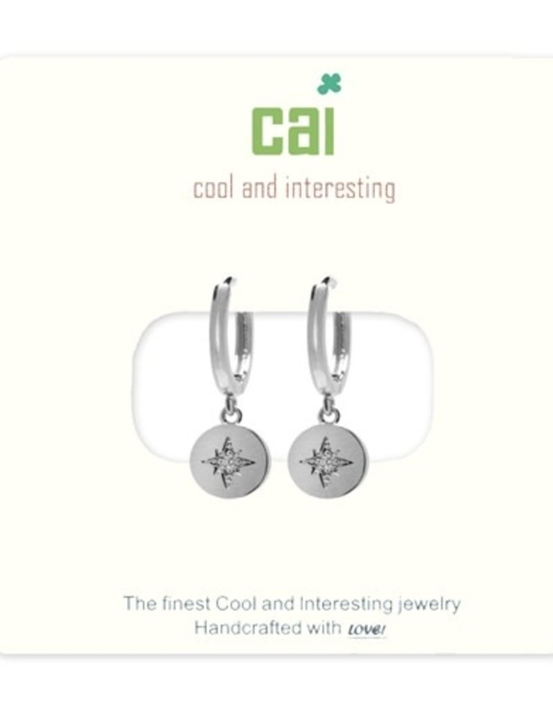 24679 silver compass huggie earrings