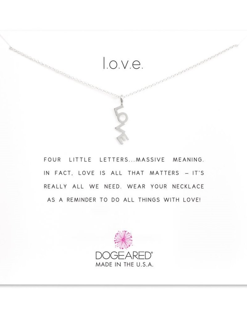 """DOGEARED LOVE NECKLACE LOVE WORD SILVER 16+2"""""""