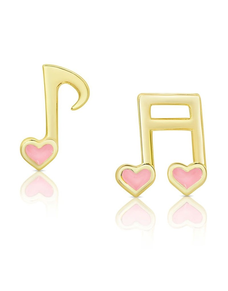 352E-PK MUSICAL NOTES STUD EARRINGS (COLOR: PINK)