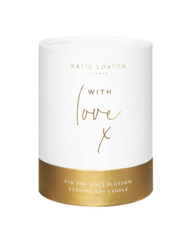 KATIE LOXTON KLC131 SENTIMENT CANDLE - WITH LOVE - WHITE AND GOLD SHIMMER - FIG AND APPLE BLOSSOM - 160G