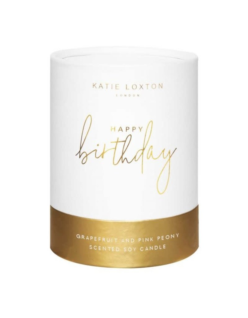KATIE LOXTON KLC132 SENTIMENT CANDLE - HAPPY BIRTHDAY - WHITE AND GOLD SHIMMER - GRAPEFRUIT AND PINK PEONY - 160G