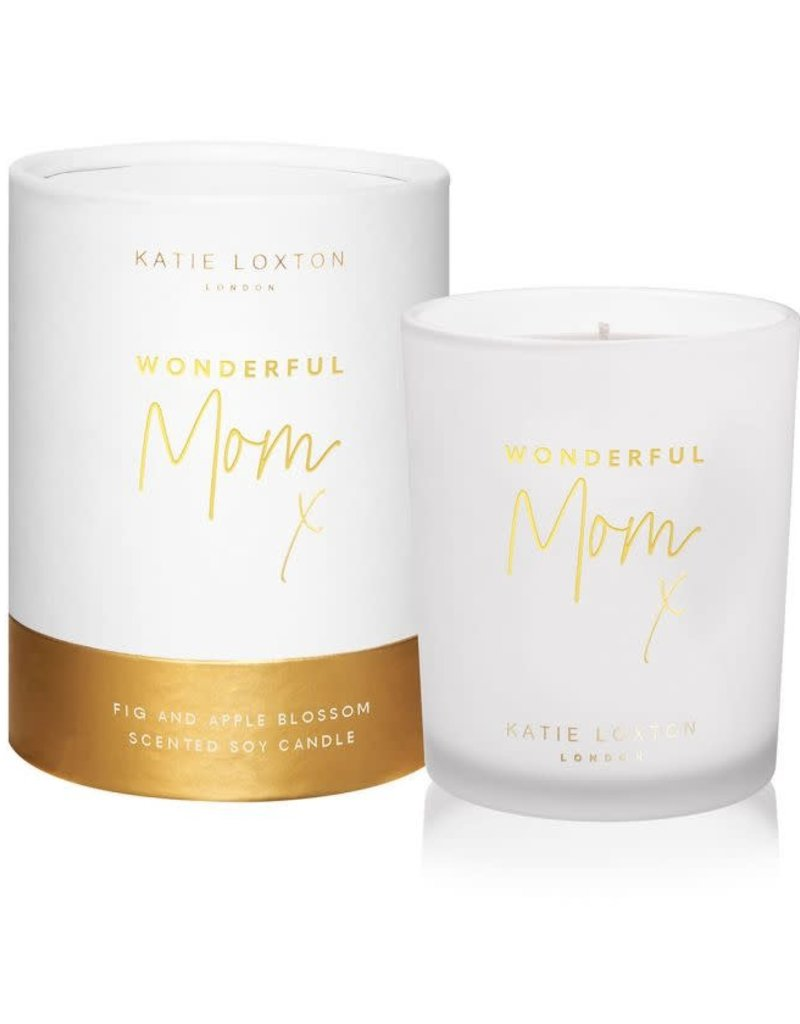 KATIE LOXTON KLC135 SENTIMENT CANDLE - WONDERFUL MOM (USA) - WHITE AND GOLD SHIMMER - POMELO AND LYCHEE FLOWER - 160G