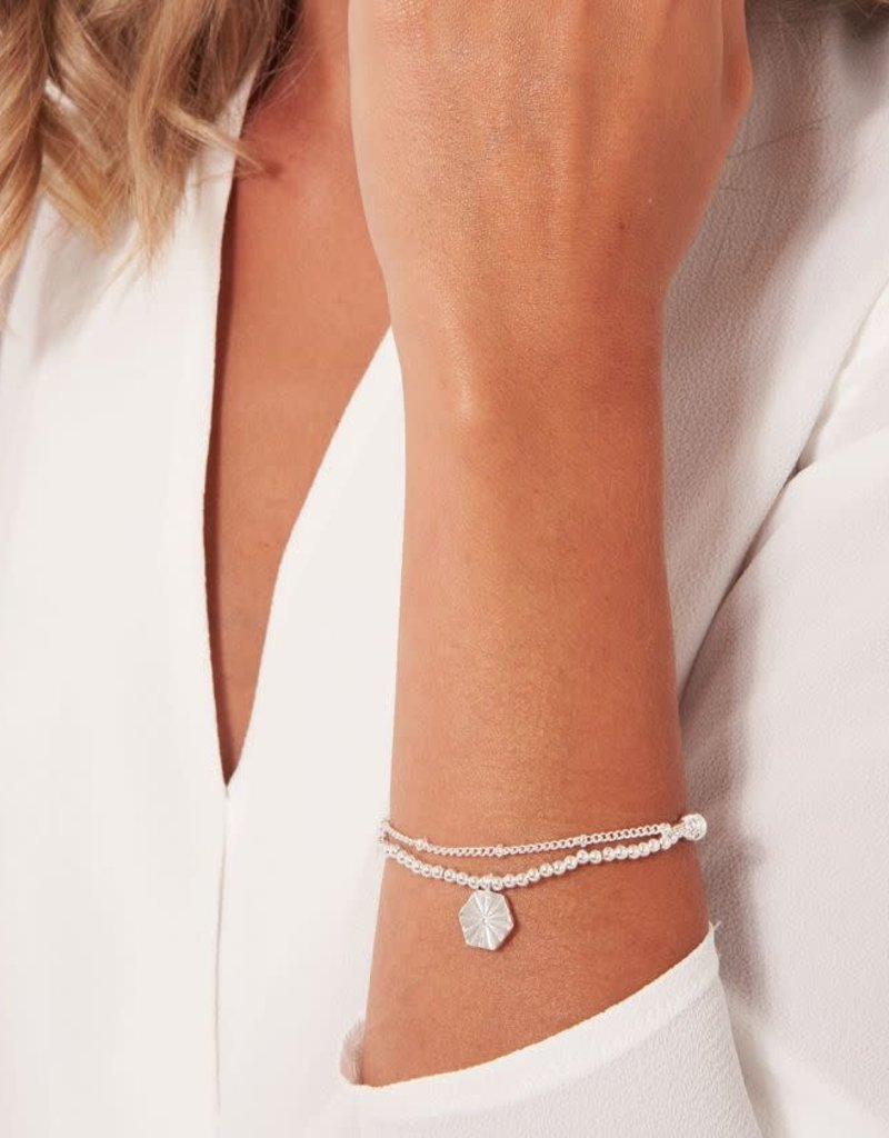 "KATIE LOXTON *KLJ3570 AMULET | SILVER HEXAGON CHAIN BRACELET | 6 4/5"" STRETCH"