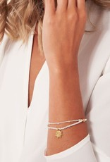 "KATIE LOXTON *KLJ3571 AMULET | GOLD SHIELD CHAIN BRACELET | 6 4/5"" STRETCH"