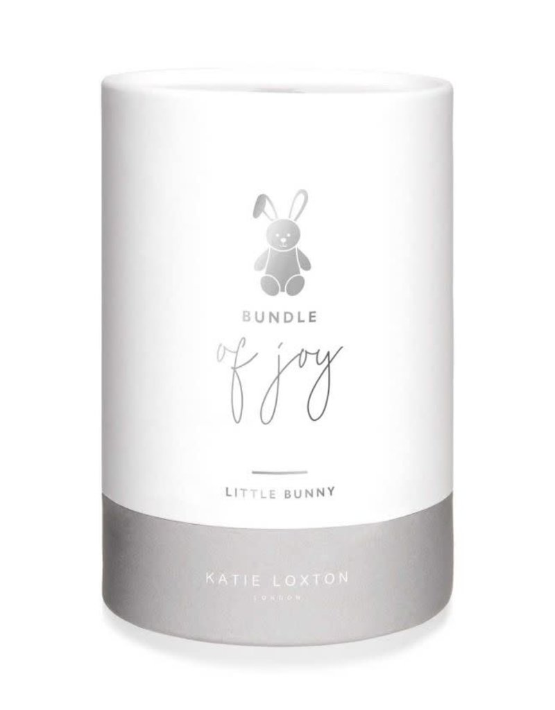 KATIE LOXTON *BA0035 BABY TOY - BUNNY - WHITE AND GREY - 16X14X12CM