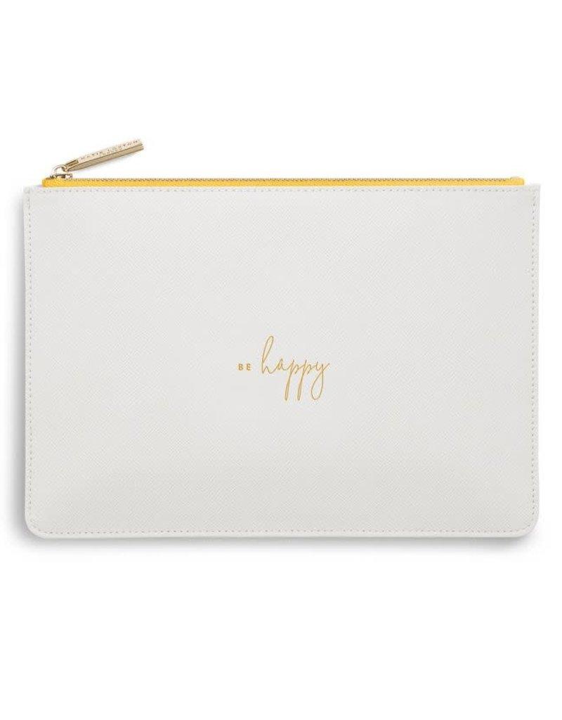 KATIE LOXTON *KLB747 COLOUR POP PERFECT POUCH | BE HAPPY | WHITE | 16 X 24 CM