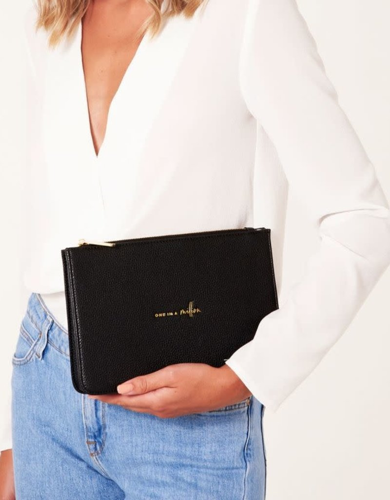 KATIE LOXTON *KLB777 STYLISH STRUCTURED POUCH | ONE IN A MILLION | BLACK | 16 X 24 X 5 CM