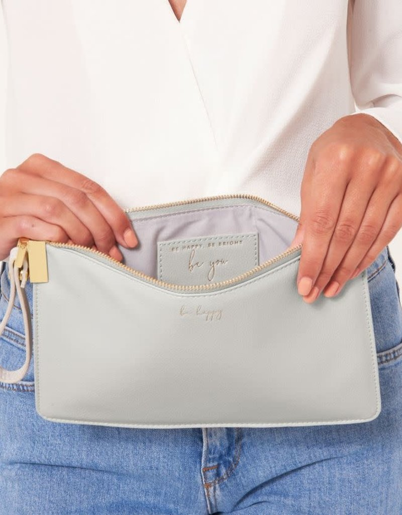 KATIE LOXTON *KLB785 SECRET MESSAGE POUCH | BE HAPPY BE HAPPY BE BRIGHT BE YOU | GREY | 16 X 24 CM