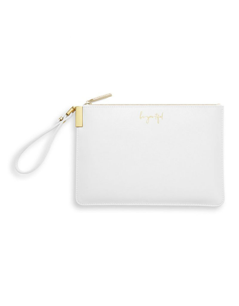 KATIE LOXTON *KLB786 SECRET MESSAGE POUCH | BE-YOU-TIFUL BE YOUR OWN KIND OF BEAUTIFUL | WHITE | 16 X 24 CM