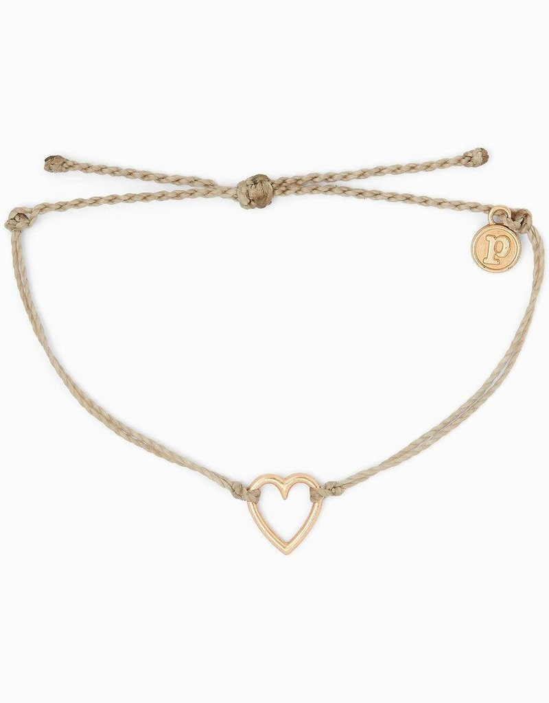 PURA VIDA OPEN HEART BRACELET ROSE GOLD LIGHT GREY