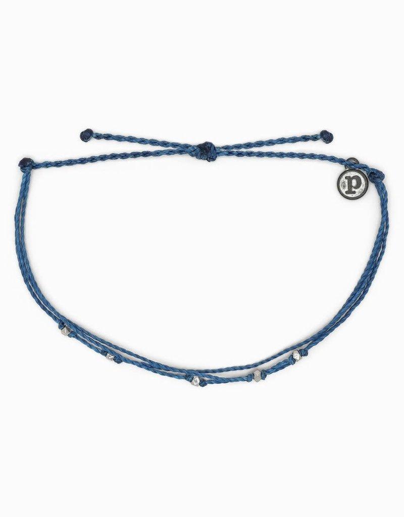 PURA VIDA Malibu Anklet SILVER Marine Blue