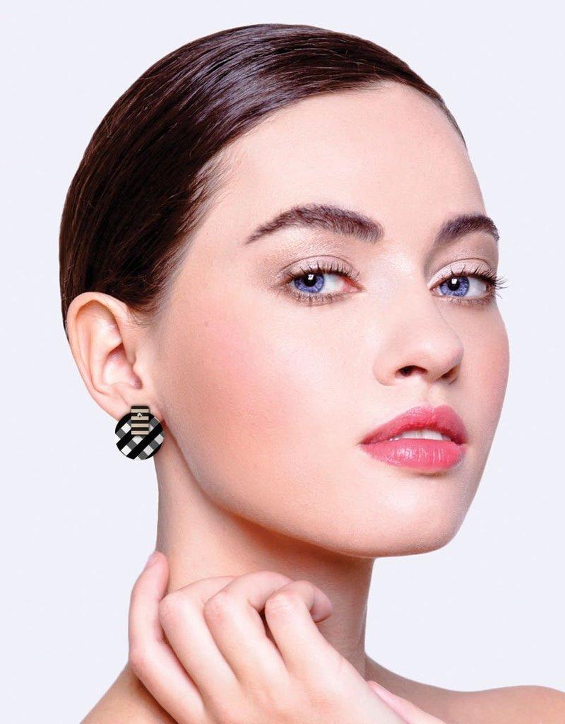ELMCSEBOSG 6 Ebony Striped Gingham Layered Medium Circle Stud Earrings