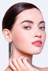 ELABDEBOSG 6 Ebony Striped Gingham Layered Angled Bar Drop Earrings