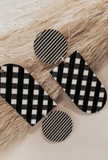 EATSEBOSG6 Ebony Striped Gingham Asymmetrical Tab Stud Earrings