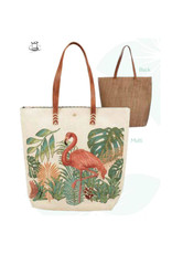 BAG1196-MULTI FLAMINGO TAPESTRY TOTE