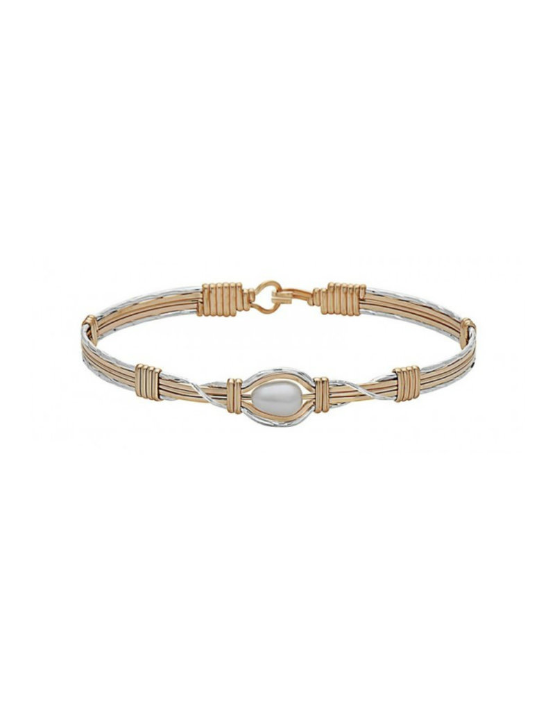 RONALDO HOLD ME BRACELET OUTER SILVER WITH INNER 14K GOLD ARTIST WIRE WITH 14K GOLD ARTIST WIRE WRAPS AND A FRESHWATER PEARL