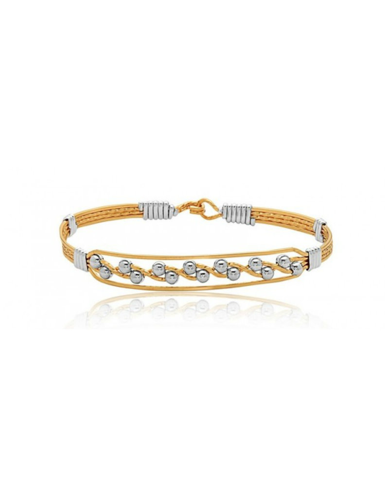 RONALDO JOURNEY BRACELET 14K GOLD ARTIST WIRE WITH SILVER WRAPS AND SILVER BEADS